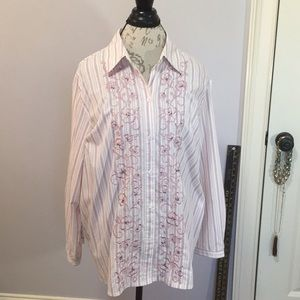 Button Front Shirt with Embroidery and Beading